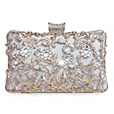GESU Large Womens Crystal Evening Clutch Bag Wedding Purse Bridal Prom Handbag Party Bag.(Silver-1)