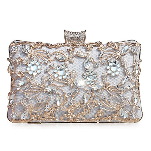GESU Large Womens Crystal Evening Clutch Bag Wedding Purse Bridal Prom Handbag Party Bag.(Silver-1) by GESU