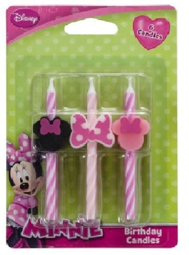 CakeDrake MINNIE MOUSE Pink Black Bow Striped (6) Birthday Party Cake Topper CANDLES (Candles Pink Striped Cake)