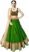 Market Magic World Woman's and Girl's Green Banglori Silk Semi stitched Free Size Lehengha Choli (Ghaghra Choli, Chaniya Choli)