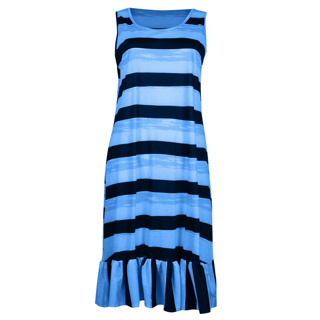 Hopeg Women Newest Plus Size Loose Sleeveless Dress - Striped Print Casual Beach,go Walk,Vacation,Camping,shoping,Party by Hopeg