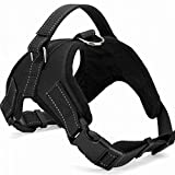 Dog Harness Vest No Pull Santune Adjustable Heavy Duty Oxford Reflective Safety Pet Harnesses with Handle for Small Medium Large Dogs Walking Traveling Training(Black - XL)