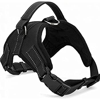 Dog Harness Vest No Pull Santune Adjustable Heavy Duty Oxford Reflective Safety Pet Harnesses with Handle for Small Medium Large Dogs Walking Traveling Training (Black, L)