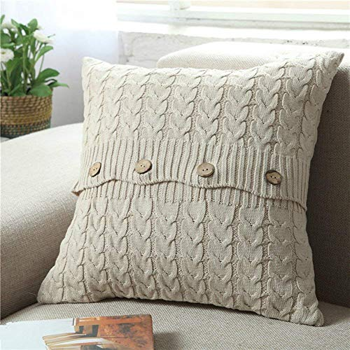 (Cotton Knitted Decorative Pillow Case Cushion Cover Cable Knitting Patterns Square Warm Throw Pillow Covers (Beige, 18