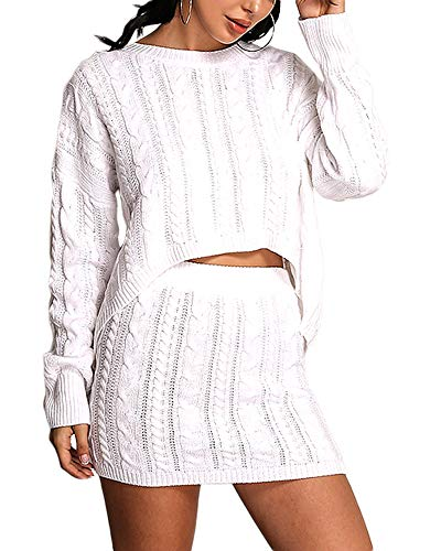 Cosygal Women's Casual Knit 2 Piece Outfit Long Sleeve Sweater Pullover Crop Top and Skirts Dress Set White Large