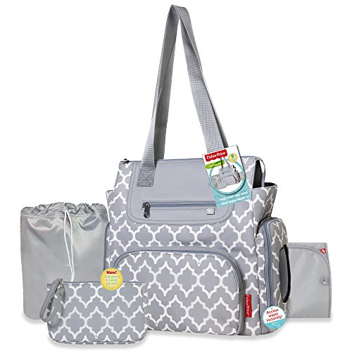 Fisher-Price 5 in 1 Lattice Diaper Bag (Diaper Bag Wristlet)