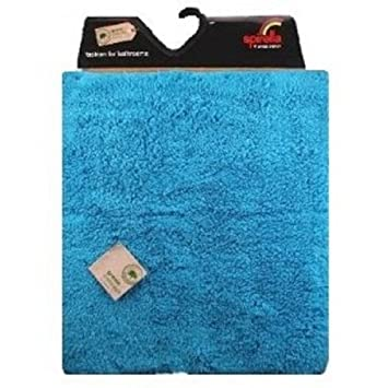 Spirella Green Concept True Acqua Blue Bath Rug Bath Mat 22x26 In