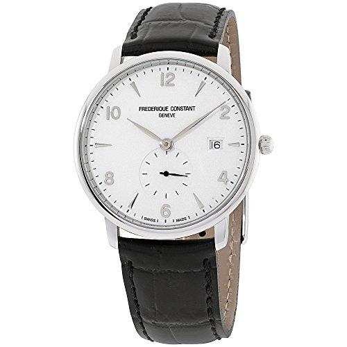 - Frederique Constant Men's Slimline Stainless Steel Swiss-Quartz Watch with Leather Strap, Black, 14 (Model: FC-245SA5S6)