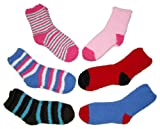 Riverstone Goods Women's Fuzzy Fleece Solids & Stripes Socks - 6-Pack, One Size Fits Most (women shoe sizes 6-10), Colors May Vary