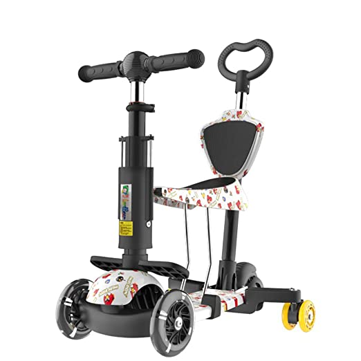 Patinetes clásicos Scooter para niños Pedaleo para niños Bicicleta para bebés Carrito de bebé Plegable de Tres o Cuatro Ruedas Coche de práctica (Color ...
