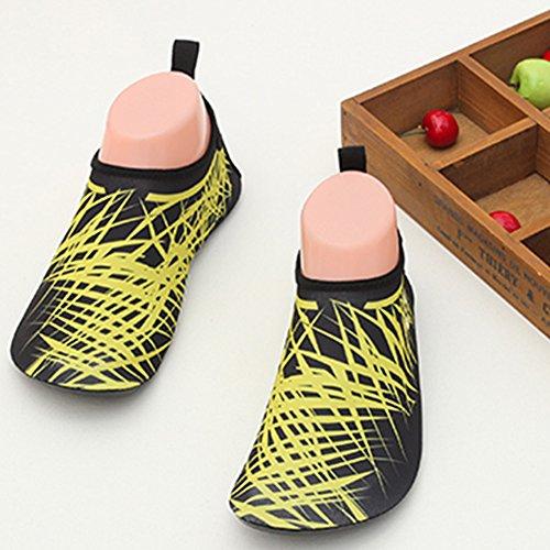 LUUB Männer und Frauen Quick-Dry Sport Barfuß Wasser Haut Schuhe Aqua Socken für Beach Pool Sand Schwimmen Surf Yoga Wassergymnastik Gelb