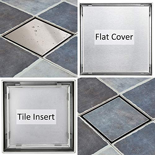- 6-Inch Square Shower Drain With 2-in-1 Reversible Flat & Tile insert Grate Cover, Brushed 304 Stainless Steel Shower Floor Drain for Bathroom and Kitchen, Kit Includes Hair Strainer and Key
