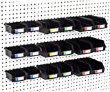 Pegboard Bins - Set of 18, Black - Hooks to Any Peg Board - Organize Hardware, Accessories, Attachments, Workbench, Garage Storage, Craft Room, Tool Shed, Hobby Supplies, Small Parts...