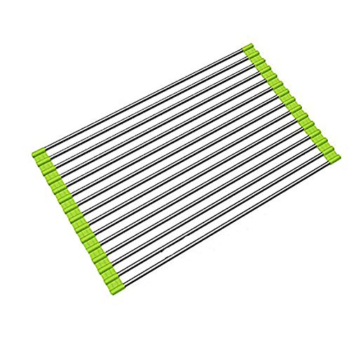 Ahyuan Roll up Dish Drainer Over The Sink Dish Drying Rack Roll up Dish Drying Rack Dish Drainers for Kitchen Sink Counter Roll-up Drying Rack SUS304 Stainless Steel Dish Drying Rack Light Green ()