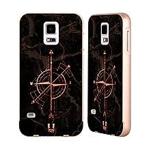 Head Case Designs Rose Gold Geometric Arrows Gold Aluminum Bumper Slider Case for Samsung Galaxy S5 / S5 Neo
