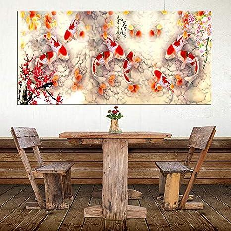 Drucken Chinesisch Zusammenfassung Neun Koi Fisch Lotus /Ölgem/älde auf Leinwand Poster Feng Shui Wandkunst Bild f/ür Wohnzimmer Home Decor 30x90cm