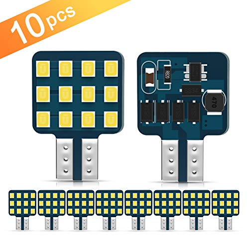 [2019 New] Ultra Bright T10 921 912 168 194 LED Bulbs 12-24V RV Interior Lights for Trailer, Trunk, Camper, Boat, Motorhome Ceiling Dome Light, Pack of 10 (921 Replacement Led Bulbs)