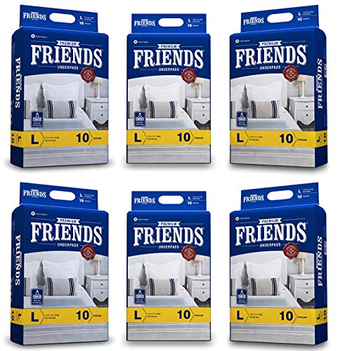 FRIENDS Ultrathin Premium Underpads – Disposable Changing Mats Soft & Super Absorbency – Size = 60 X 90 Cm – Large – 60…