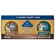 Blue Buffalo Divine Delights Natural Adult Small Breed Wet Dog Food Cups Variety Pack, Filet Mignon Flavor in Hearty Gravy and New York Strip Flavor in Hearty Gravy 3.5-oz (12 pack- 6 of each flavor)