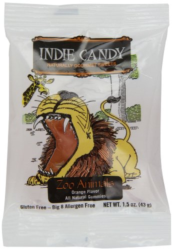 Indie Candy Zoo Animals Gummi, Orange Flavor, 1.5-Ounce (Pack of 12)