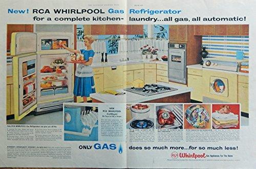 Ads Vintage Appliance (RCA Whirlpool Appliances, 50's Vintage print ad. Color Illustration (complete kitchen) original 1958 The Saturday Evening Post Magazine Art)
