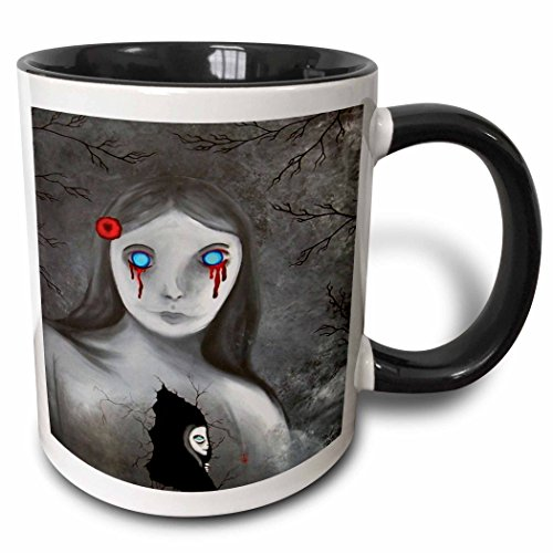 (3dRose Dooni Designs Halloween Designs - Bleeding Eyes Goth Gothic Halloween Design - 15oz Two-Tone Black Mug)