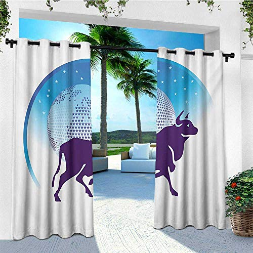 leinuoyi Zodiac Taurus, Outdoor Curtain Waterproof, Earth Globe with Stars and Dark Bull Animal Universe Future, Outdoor Curtain Set for Patio Waterproof W72 x L108 Inch Dark Purple Blue and ()