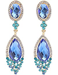 Women's Wedding Bridal Infinity Figure 8 Crystal Teardrop Chandelier Dangle Clip-On Earrings
