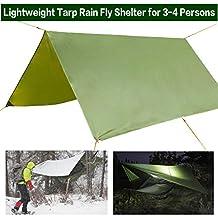 Hammock Rain Fly Waterproof Portable Tent Hammock Tarp Outdoor Camping Rainfly Shelter Ripstop Nylon with Lightweight Aluminum Stakes