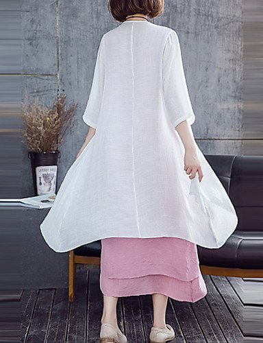 DESY Mujer Vaina Vestido Noche Casual/Diario Tallas Grandes Vintage Sofisticado,Estampado Escote Redondo Midi 1/2 Manga Algodón RayónPara Green