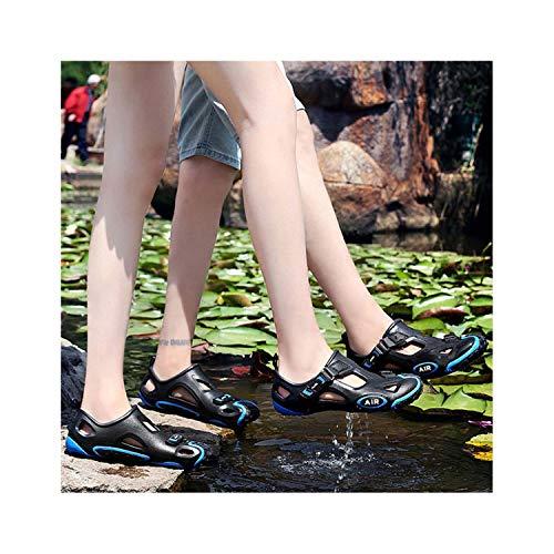 - SSLOPY& Sandals 2019 New Couple Summer Breathable Hole Shoes Sneaker Fashion Trend Non-Slip Sandals Women High Heel Platform Sandals 278 Black Blue 44