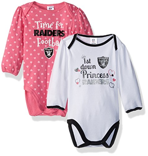 NFL Oakland Children Girls 2 Pack Long sleeve Bodysuit, 18 Months, Raiders