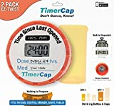 TimerCap Automatically Records Built-in Stopwatch Bottle Cap for Pill & Medicine Organizer (2 Pack, Standard & Large) - Red