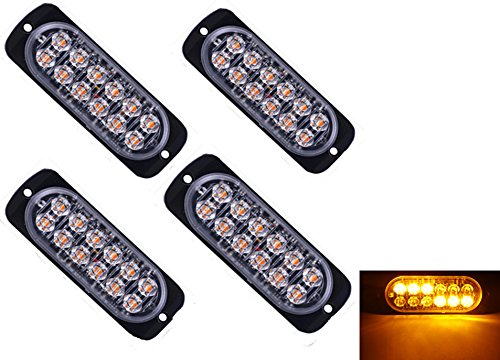 4pcs Universal Super Bright Car Truck Warning Caution Emergency Construction Waterproof Surface Mount Beacon Flash Caution Strobe Light Bar -12LED (Amber&Amber)