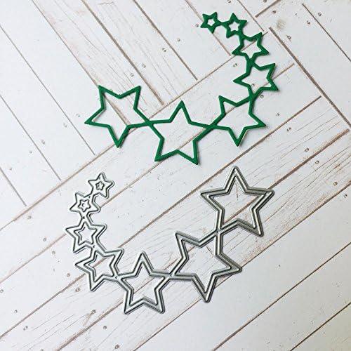 DIY紙カットカード Timsa 知育玩具 手作り 描画テンプレート カード作り道具 切り抜き紙が作れる型 節日 誕生日 装飾マスキング パーティー用品 ダイカットテンプレート 紙飾り用具 DIYスクラップブッキング 装飾工芸 糸のボール柄 星柄 幾何学柄 9種選択 (B)