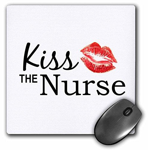 3dRose LLC 8 x 8 x 0.25 Inches Mouse Pad, Kiss The Nurse Humorous Funny Nurses Day Gifts Flirty Red Lipstick Mark Kisses Cheeky Fun (mp_151645_1)