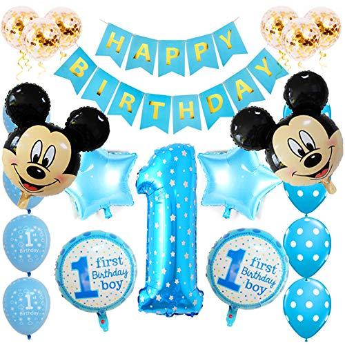SUNSK Globos Cumpleanos 1 ano Decoracion de Mickey Globos de Latex Globos de Foil Confeti Happy Birthday Banner Decoracion de cumpleanos 23 Piezas