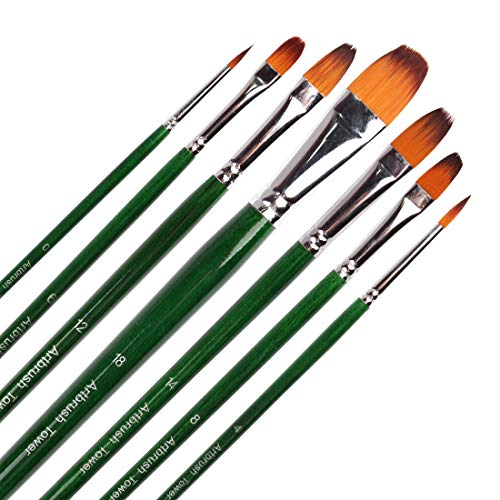 Long Filbert - Filbert Paint Brushes for Acrylic Painting, 7 Piece, Long Handle Synthetic Bristles Artist Paint Brushes for Watercolor,Gouache, Oil, Face Painting