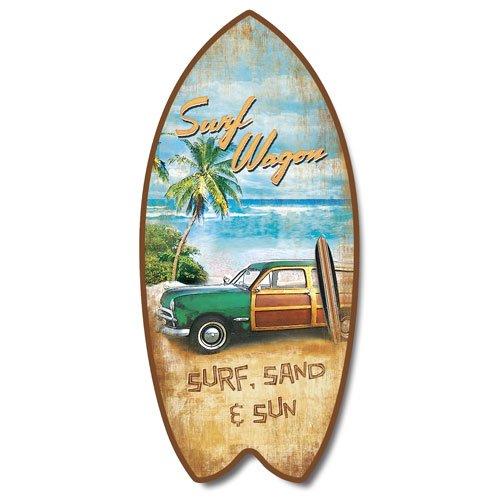 Retro Vintage Surf Wagon Tropical Beach Mini Surfboard Plaque Home Décor Accent - Surfboard Tropical