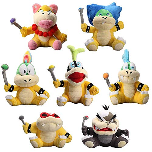 William Super Mario Party Koopalings Larry Iggy Lemmy Roy Ludwig Wendy Morton Plush Toys Set of 7pcs (Mario And Luigi Superstar Saga All Bosses)