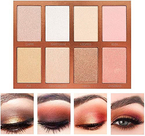 SEPROFE Shadow Palette Eyeshadow Warm Neutrals 8 Colors High-gloss Powder Makeup Face Contour Foundation Blush Long Lasting Shimmer Repair Powder Cosmetics Palettes for Long-Lasting