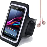SumacLife Neoprene Cycling Jogging GYM Armband Case for Sony Xperia Z Ultra C6833 C6802 (Black) + Pink VanGoddy Headphones With MIC