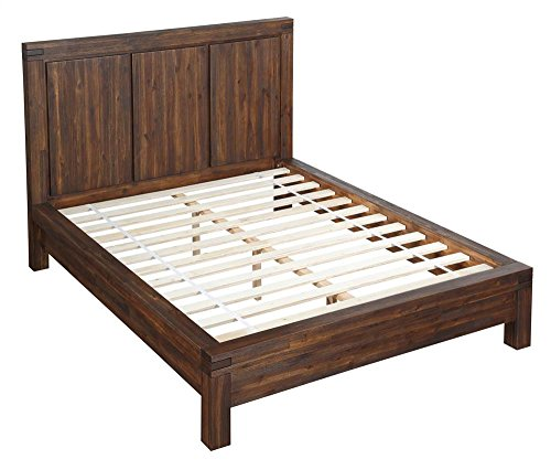 Modus Furniture Meadow Solid Wood Platform Bed, Brick Brown,
