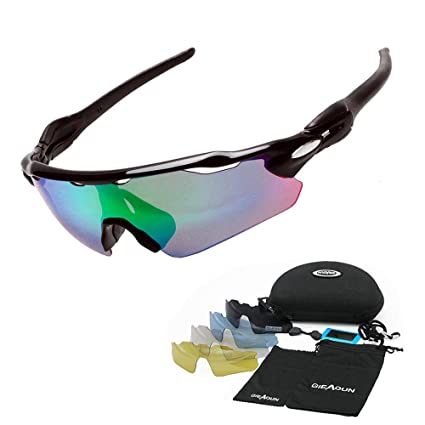 ceab91e7b0 HTTOAR Sports Sunglasses Polarized Protection UV400 Cycling Glasses with 5  Interchangeable Lenses for Cycling