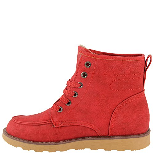 Noir Knöchelhoch À rouge V1145 Rouge Fourrées Chaussures Chaudes bleu Lacets nxXZIxAq