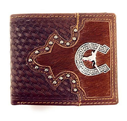 Western Genuine Woven Leather Cowhide Mens Bifold Short Wallet in Multi Emblem (Longhorn Spur)