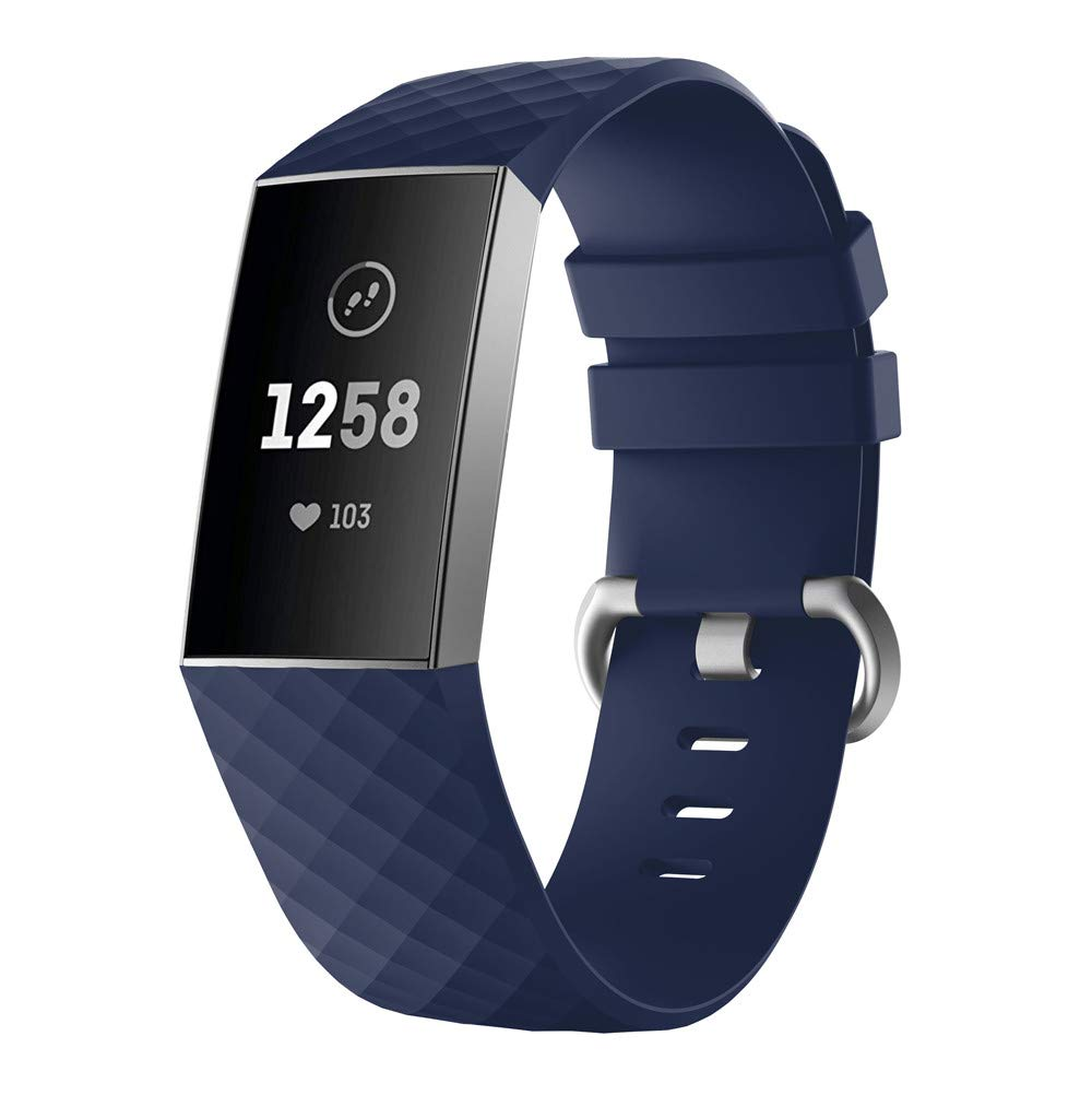 Hunputa Fitbit Charge 3 Bands, Sports Soft Silicone Wristbands Bracelet Strap Band for Fitbit Charge 3 (Navy)