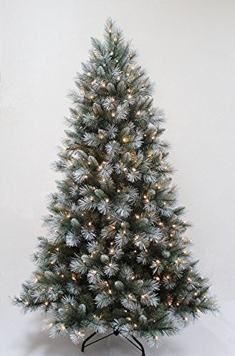 FB FunkyBuysPre-Lit 7FT,210cm Frosted Green Christmas Tree 1000+ Tips Pine 300 Warm White LEDs w/ Stand by FB FunkyBuys