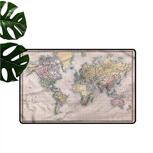DONEECKL Modern Door mat World Map Antique Chart Old Empires Non-Slip Door mat pad Machine can be Washed W16 xL24