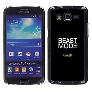 TopCaseStore / la caja del caucho duro de la cubierta de protección de la piel - Beast Mode Exercise Rogan Black Text - Samsung Galaxy Grand 2 SM-G7102 SM-G7105